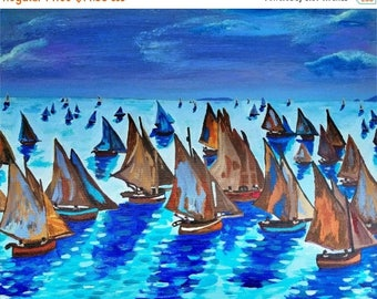 "SALE Claude Monet Fishing Boats Calm Seas Coastal Seascape Art Artwork By Scott D Van Osdol 11x17"" Print Of My Original Acrylic Seascape Pai"
