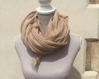 Cotton Scarf - striped cotton scarf, beige scarf, pashmina shawl, lightweight scarf, summer scarf, tan scarf, gift for her, gift for women