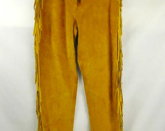 Vintage 70s Ladies Lew Magram British Tan Suede Leather Fringe Hippie Hipster Western Riding Pants 26x31 High Waist Lined