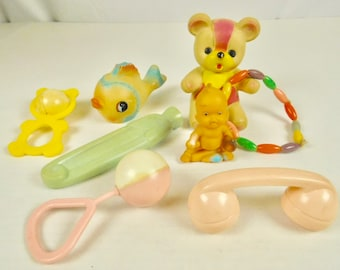 Lot of 8 Vintage Rubber and Plastic Squeaky Toys Rattles Bear Baby Fish Teether Diaper Pin Crafting Childs Room Baby Nursery Classroom