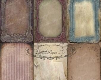 SALE Grunge Texture Background, Distressed Texture, Grunge Digital Back Drop, Grunge Digital Paper, Grunge Antique Frames 8.5 x 11 P 113 Sa