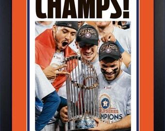 Original 1st Edition Houston Astros 11/2/17 Framed Houston Chronicle Newspaper World Series Champions