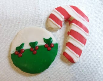 Homemade Holiday Sugar Cookies - Ornament & Candy Cane Cookies - 12 Cookies