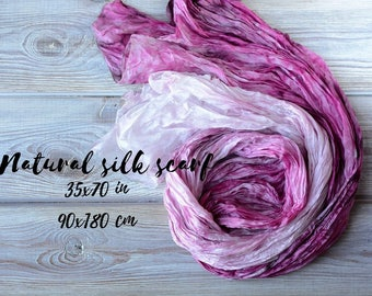 Purple ultra violet  Silk Scarf Pink rose white 35x70in birthday mum wife