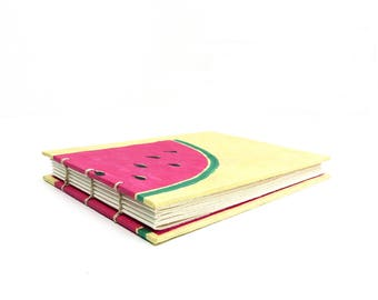 Hand made sketch book, journal with coptic binding A6, screen printed melon design