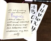 """Uppercase Brush Lettering Alphabet Calligraphy Tracing Card, fits Traveler's Notebook, Leuchtturm and Moleskine 5"""" by 7"""""""