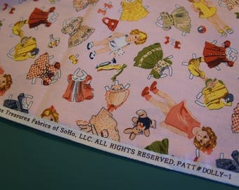 2 Yards Timeless Treasures Fabrics Dolly Pink Tossed Paper Dolls NEW