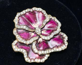 Vintage Art Nouveau Purple Pansy Rhinestone and Enamel Brooch