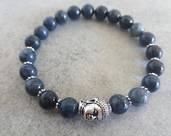Energized dumortierite and its silver zen Buddha bracelet