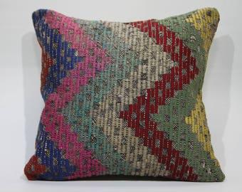 geometric kilim pillow sofa pillow throw pillow handwoven kilim pillow 20x20 embroidered kilim pillow ethnic pillow cushion cover 1197