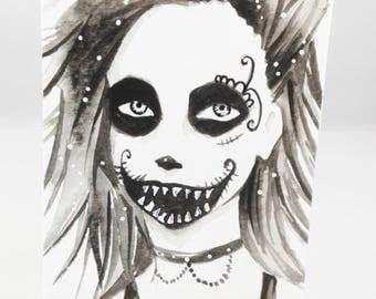 Original watercolor ACEO cocoa card sugar skull Halloween creepy hand-signed