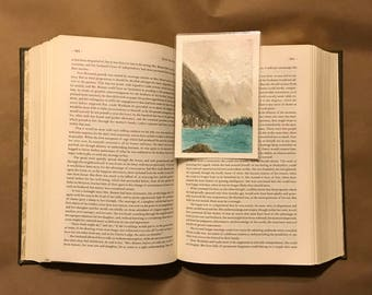 Original Handpainted Bookmark Landscape Watercolor Painting on Watercolor Paper - Laminated