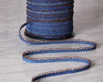 10m de dentelle 10mm, coton et polyuréthane, bleu denim et brun, (5512)
