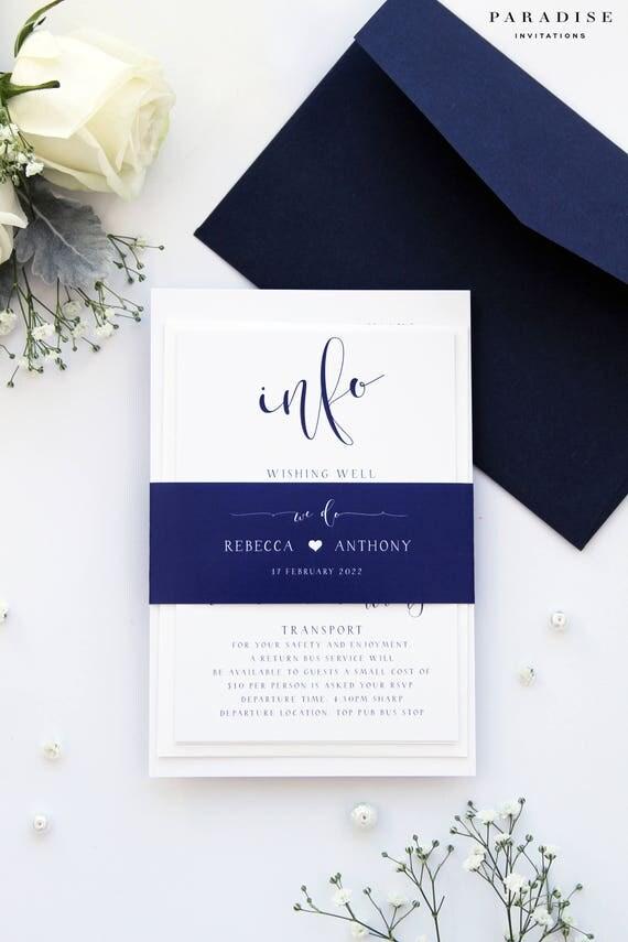Rebecca Navy Wedding Invitation Set Modern Calligraphy