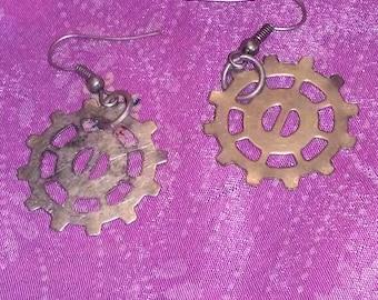 Silver tone gear earrings