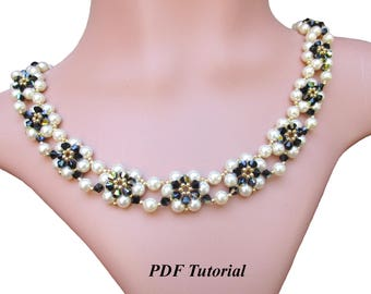 "Beading Necklace, DIY Necklace, Pearl Bead Pattern, Necklace Tutorial, Beaded Pattern, Crystal Pattern, Beading Design, ""Sundance"" Necklace"