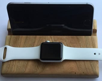 Apple Watch iWatch Men Phone Stand Dock Dad Mom Boyfriend Personalized Charging Station Wood iPhone