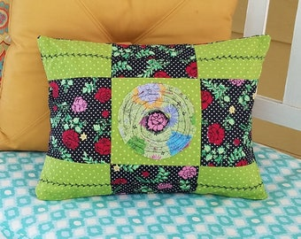 Dorm room pillow, small camping pillow, washable pillows, upcycled pillows, small travel pillow, rose printed pillow, kids rag pillow
