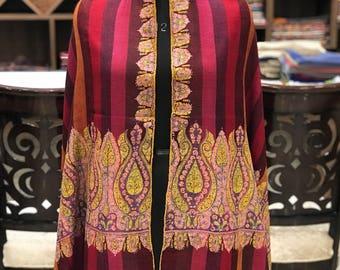 Red Pure Pashmina Shawl/Wrap with sozni hand embroidery, Pure Cashmere Wrap, Sozni Hand Embroidery, Kashmiri Sozni Work, Red Women Shawl
