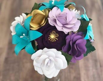 Paper Flowers, Paper Bouquet, Paper Flower Bouquet, Mermaid Decor, Valentine's Day Flowers, Valentine's Day Gift, Valentine's Flowers, Gift