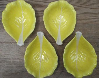 Vintage Set of 4 Portuguese Ceramic Chartreuse Yellow Cabbage Leaf Bowls by SECLA