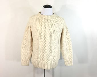 70's vintage all wool fisherman cable sweater made in ireland
