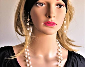Art Pearl Necklace and earrings set
