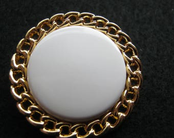 11 piece large coat buttons with loop, gold/Weiß.Durchmesser ca. 30 mm, new, Lübeck button Manufactory