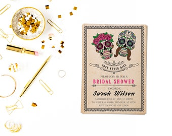 Day of the dead bridal shower,Sugar Skull Invitation,day of the Dead Invitation,Sugar Skull Birthday Invitation,fiesta invitation