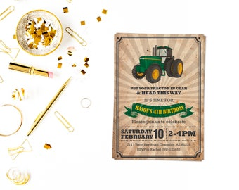 Tractor Invitation,Tractor Invitation, Tractor Birthday Invitation, Tractor Party, Farm Birthday, Tractor invite,construction invite
