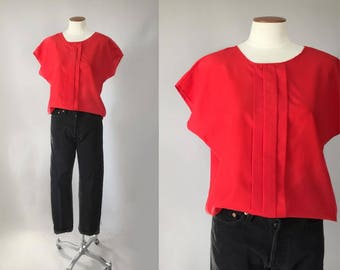 Vintage 1980s red dolman sleeve pleated boxy oversized blouse / 80s 90s top / valentine's day / small S medium M