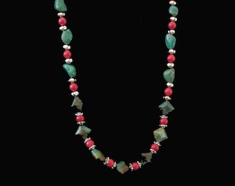 Gemstone Beaded Necklace - Turquoise, Coral & Silver  #210