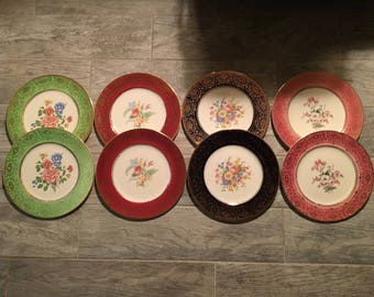 """1940s Salem Imperial China Aristocrat (Floral Centers) 10-7/8"""" Service or Charger Plates (set of 8)"""