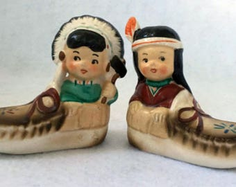 Vintage American Indian Boy and Girl in Moccasins salt and pepper shakers