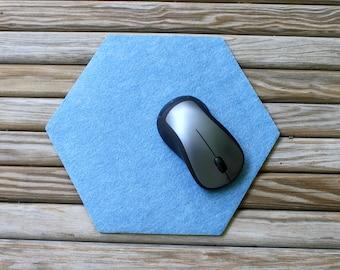 Vegan Friendly Felt Hexagon Mouse Pad 4mm Thick Computer Mousepad Geometric Office Cubicle Decor
