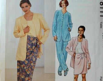 Uncut 1990s McCall's Vintage Sewing Pattern 8111, Size 4-6-8; Misses' Jacket, Tank Top, Sarong Skirt in Two Lengths and Pull On Pants