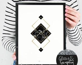 Abstract triangles, gift idea , home decor, Fashion Print, gift idea