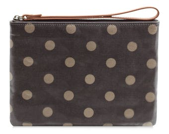 Oilcloth Clutch purse- Zip Pouch bag - polka dot - Oil cloth strap zip wallet - Ladies purse - Teenage girl cosmetic beauty case -makeup bag