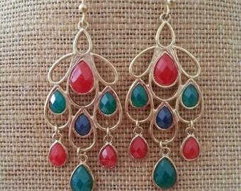 Multicolor Epoxy Stone Chandelier Earrings