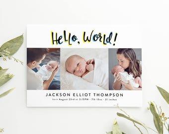 Baby Birth Announcements - Three Photos - Hand Lettered - Hello World - Multi-Photo Cards - Boy - Gender Neutral - Adoption Announcement