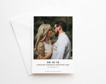Printed Save the Date Cards - Modern Minimalist - Photo Engagement Cards - Polaroid - Clean Typography - High Quality Cards and Envelopes