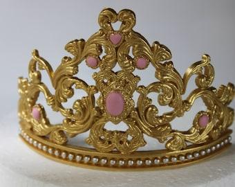 Fondant gum paste  Princess Tiara Cake girl birthday party gold crown tiara sugar decoration