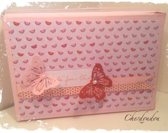 """Box album or guestbook """"Pink and"""" Tangerine for lots of photos or messages"""