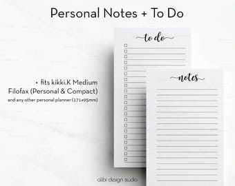 To Do List, Printable Notes, Personal Planner Inserts, Printable Planner, To Do Printable, Filofax Personal, Personal Inserts, kikkik Medium