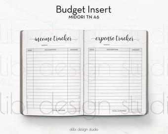A6 TN, Budget Insert, Travelers Notebook, Expense Tracker, Income Tracker, TN Inserts, Midori, Financial Planner, Midori A6, Budget Journal