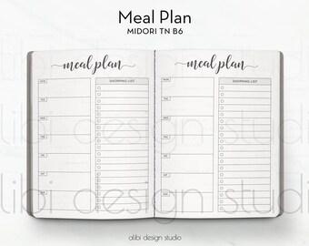 B6 TN, Meal Planner, Travelers Notebook, Meal Insert, Shopping List, Meal Tracker, TN Inserts, Midori, Diet Insert, Bullet Journal