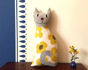 Cat Pillow, Decorative Pillow, Plushie, Handmade Pillow