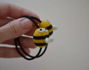 Set of 2 Elastic Metal-Free Hair Ties (Ponytail Holders) - Needle Felted Bees
