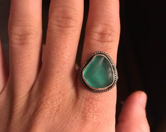 Teal Seaglass Boho Ring; Sterling Silver; Size 8 1/4