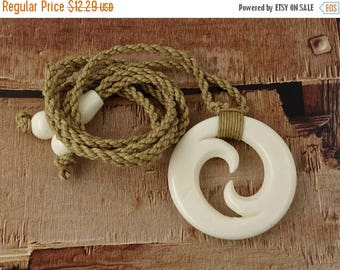 15% OFF SALE Maori Closed Koru, Lashed Hemp Cord, Hand Carved,  Bone, Surfer Necklace, Free Shipping